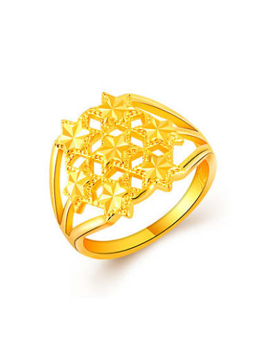 High Quality Hollow Star Shaped 24K Gold Plated Ring
