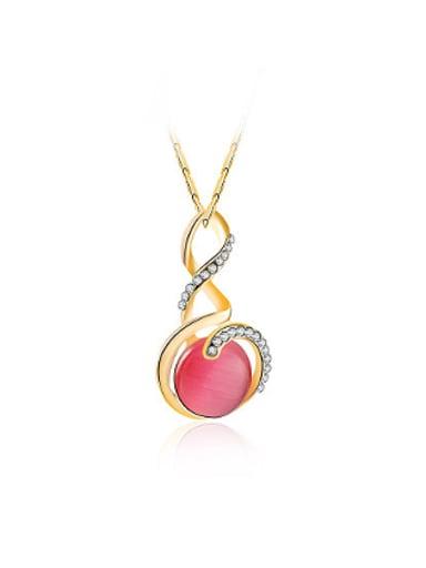 All-match Geometric Shaped Opal Stone Necklace