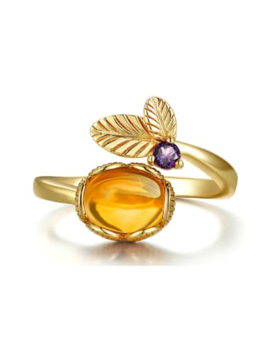 Egg-shape Yellow Crystal Opening Ring