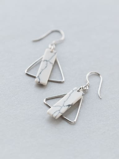 Temperament Triangle Shaped Turquoise S925 Silver Drop Earrings