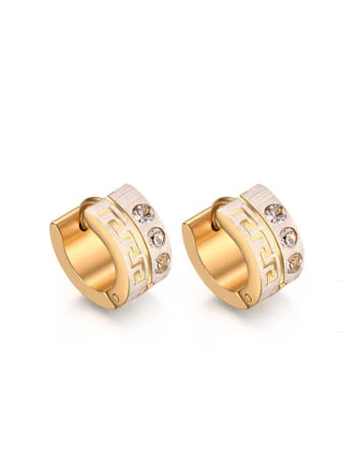 Fashionable Gold Plated Geometric Rhinestones Clip Earrings