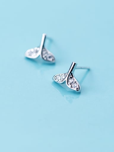 S925 silver beauty tail fish earrings, female diamonds, dream fish, sea animals, sweet Earrings E9377