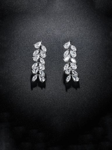 Copper With Platinum Plated Delicate Leaf Stud Earrings