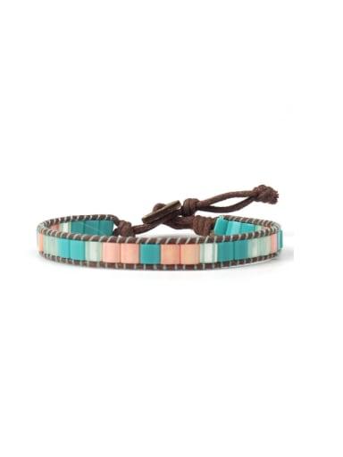Rectangle Glass Stones National Style Women Bracelet