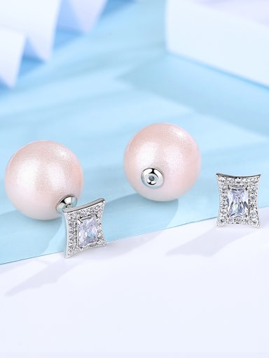 Copper With White Gold Plated Simplistic Ball Stud Earrings