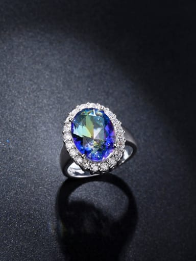Colorful Oval Zircon Engagement Ring