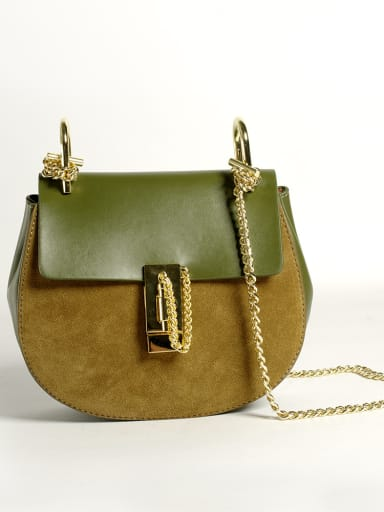 Mini contrast color leather scrub sanding chain saddle bag