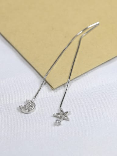 Asymmetrical Shiny Tiny Moon Star 925 Silver Line Earrings
