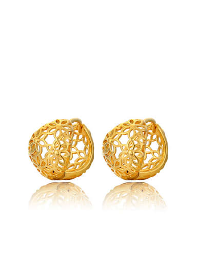Copper Alloy 24K Gold Plated Ethnic style Hollow Clip clip on earring