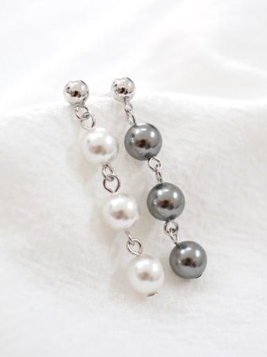 Fashion Three Artificial Pearls Silver Stud Earrings