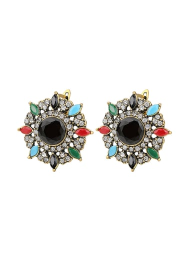 Ethnic style Colorful Resin stones White Rhinestones Alloy Earrings