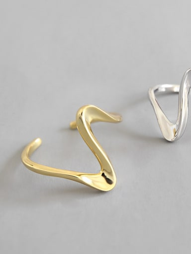 925 Sterling Silver With 18k Gold Plated Simplistic Irregular Rings