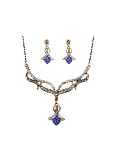 Retro Noble style Cubic Crystals Antique Gold Plated Two Pieces Jewelry Set