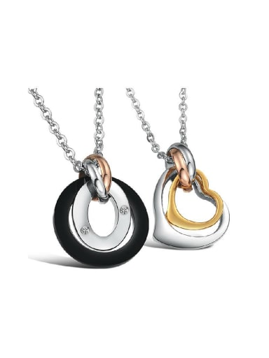 Fashion Hollow Round Heart shaped Titanium Necklace