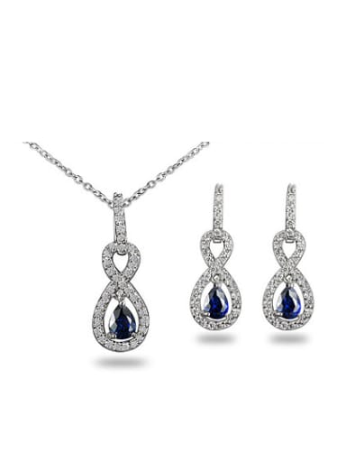 Blue Number Eight Shaped Zircon Copper Two Pieces Jewelry Set