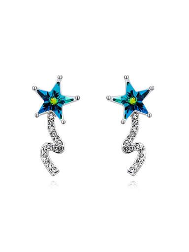 Fashion Star Swarovski Crystals Alloy Platinum Plated Stud Earring