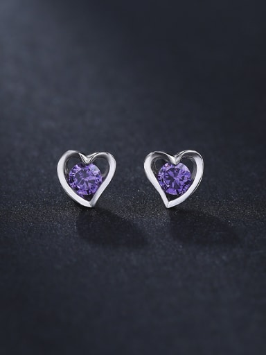 Simple Tiny Hollow Heart Purple Zircon 925 Silver Stud Earrings