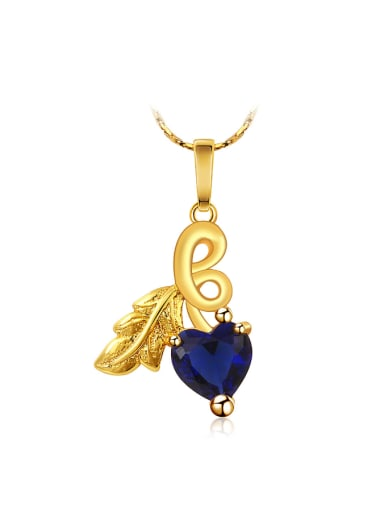 Copper Alloy 24K Gold Plated Ethnic style Heart-shaped Zircon Necklace