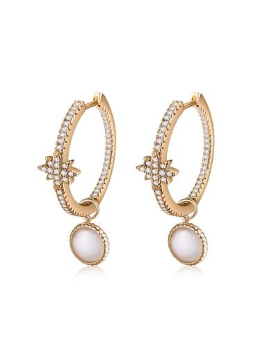 Tide circle Micro-inlay Zircon  earrings