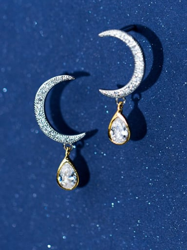 925 Sterling Silver With Platinum Plated Delicate Moon Earrings