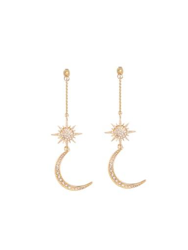 Sparking Moon Rhinestones Drop threader earring