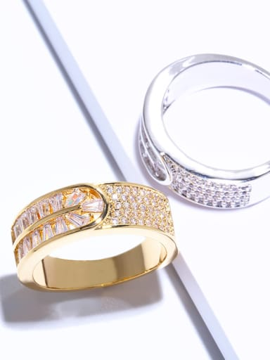 Copper With Cubic Zirconia Classic Geometric Band Rings