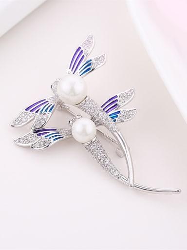 Fashion Elegant Zirconias-studded Dragonfly Imitation Pearl Copper Brooch