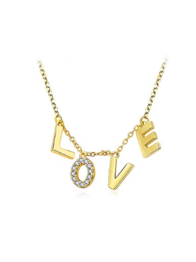 18K Gold Plated Monogrammed Rhinestones Necklace