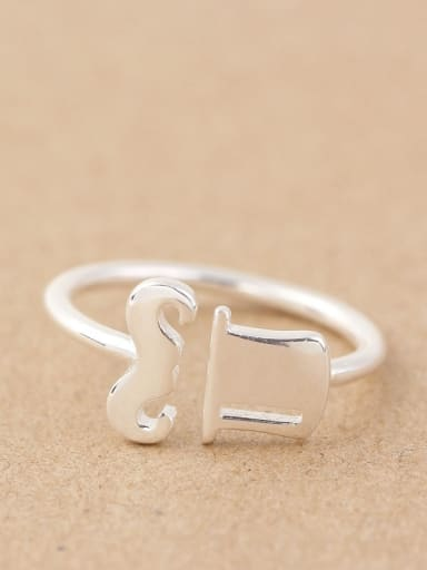 Lovely Mustache Hat Opening Midi Ring
