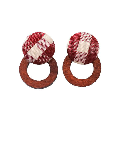 Alloy With Gold Plated Simplistic  Checkered Wood Geometric Stud Earrings