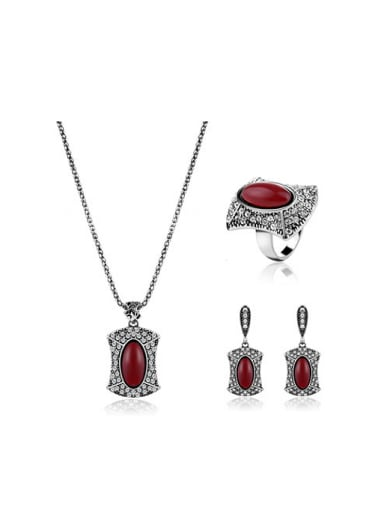 Alloy Antique Silver Plated Vintage style Artificial Stones Three Pieces Jewelry Set