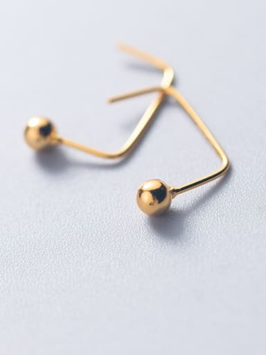 925 Sterling Silver With 18k Gold Plated Simplistic Ball Stud Earrings