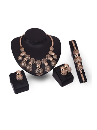 Alloy Imitation-gold Plated Vintage style Round-shaped Hollow Four Pieces Jewelry Set