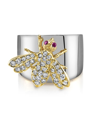 Copper whith Cubic Zirconia Lovely bee Ring