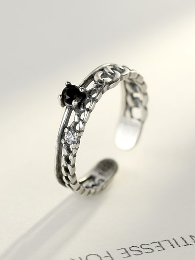 Sterling Silver Thai silver style antique hollowed Obsidian ring