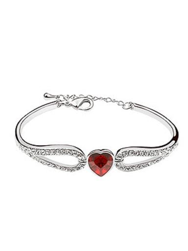 Elegant Shiny Swarovski Crystals Heart Alloy Bracelet