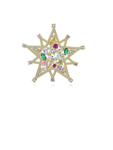 Copper With Cubic Zirconia Luxury Five-Pointed Star  Brooches