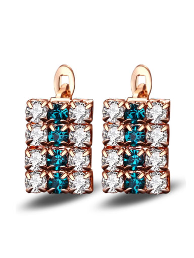 Creative Zircons Rectangle Shaped Temperaments Clip Earrings