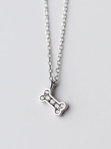 Creative Bone Shaped Rhinestones S925 Silver Necklace