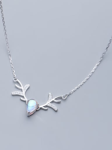 925 Sterling Silver With Silver Plated Simplistic Antler Water Drop Necklaces