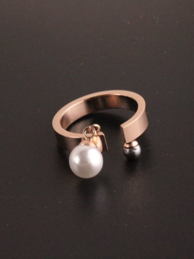 Double Artificial Pearls Opening Ring