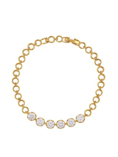 Copper Alloy 23K Gold Plated Simple Hollow Zircon Women Bracelet