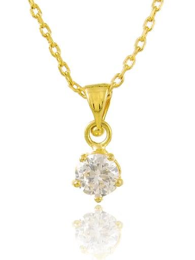 Fashion 24K Gold Plated Round Shaped Rhinestone Necklace