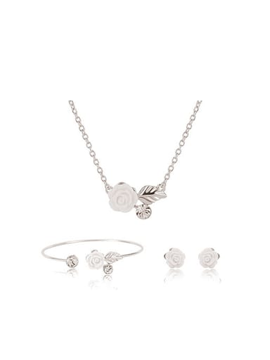 Alloy White Gold Plated Fashion Flower Artificial Gemstones Three Pieces Jewelry Set