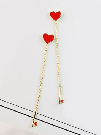 Little Red Heart shapes Gold Plated Earrings