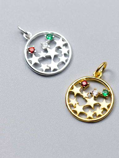 925 Sterling Silver With 18k Gold Plated Delicate Round Charms