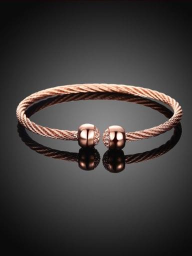 Open Design Twisted Rope Rhinestone Bangle