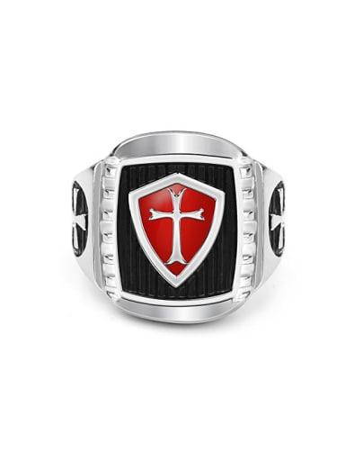 Retro Crusader Cross Signet Ring