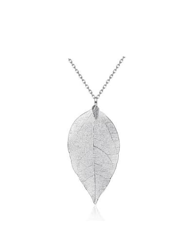 Exquisite White Gold Plated Leaf Shaped Necklace