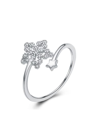 Micro Pave Zircons S925 Silver Opening Ring